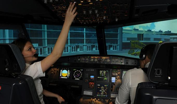 Cockpit im Flugsimulator