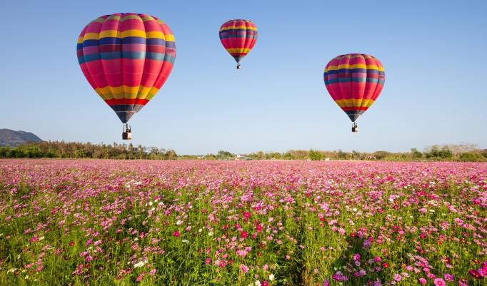 Start eines Heißluftballon