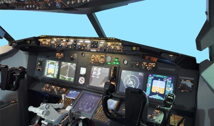 Armatur im Flugsimulator