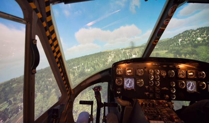 Bell Huey fliegen im Simulator