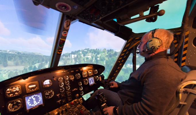 Selber Bell Hubschrauber fliegen im Flugsimulator