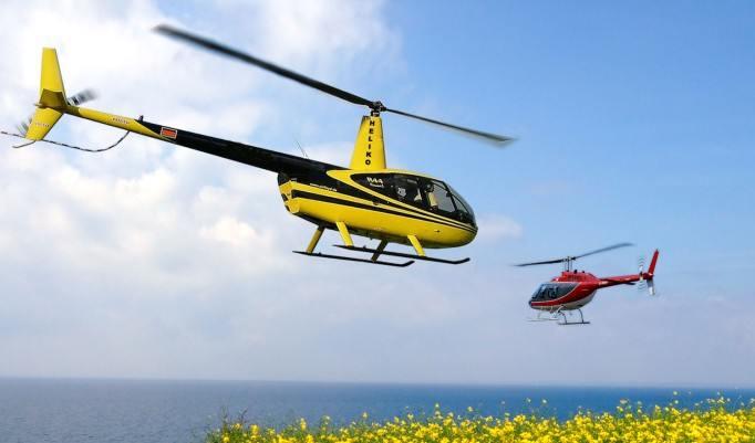 Zwei tieffliegende Hubschrauber am Meer
