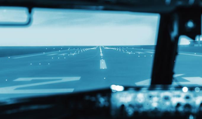 Blick aus dem Flugsimulator