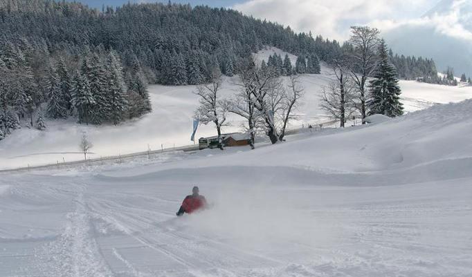 Abfahrt mit dem Ski-Bockerl