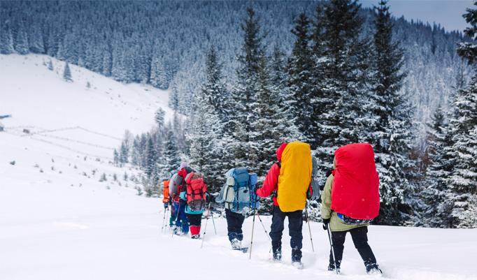 Gruppe bei Schneeschuhwanderung
